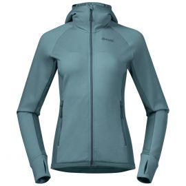 Bluza wełniana damska Bergans of Norway Cecilie Wool Hood - Lt Forest Frost/Forest Frost