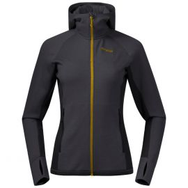 Bluza wełniana damska Bergans of Norway Cecilie Wool Hood - Solid Charcoal/Black/Light Golden Yellow